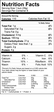 Hot Dog Buns Nutrition Label